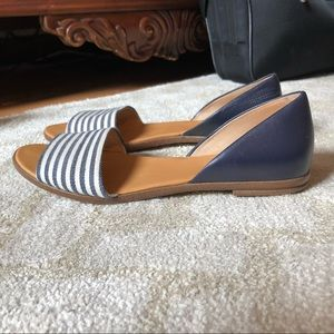 J. Crew striped white navy open toe flats